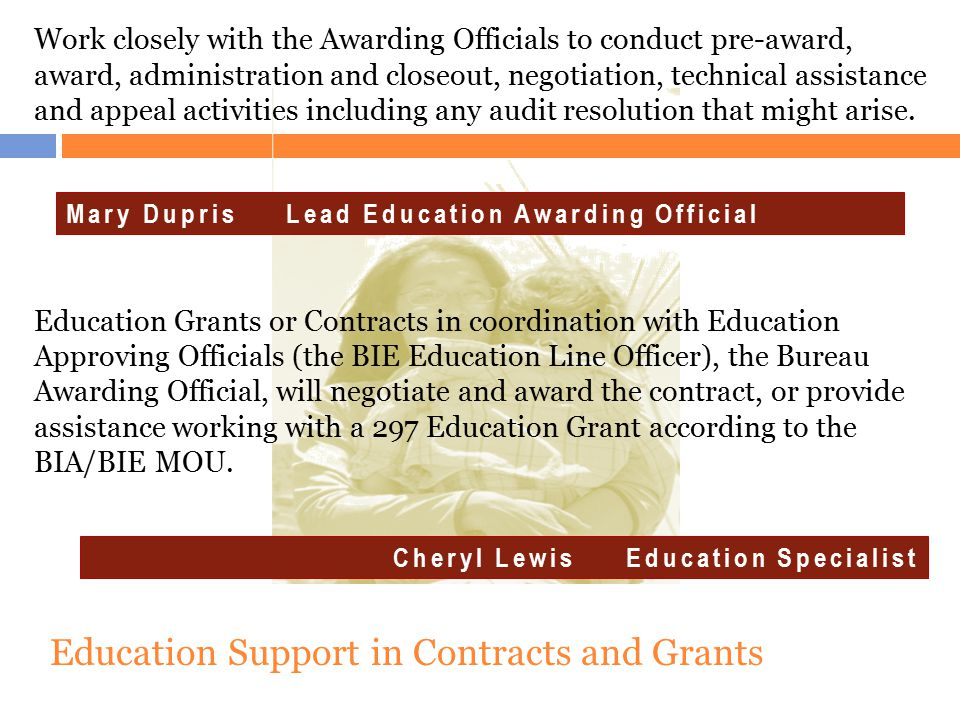Education Support in Contracts and Grants