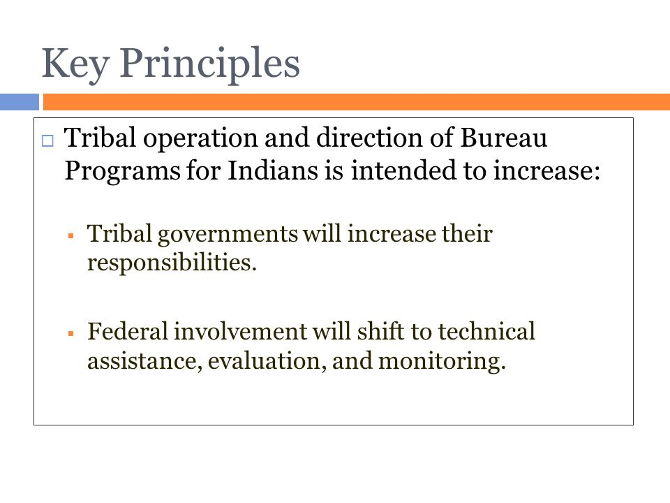 Key Principles Tribal operation and direction of Bureau Programs for Indians is intended to increase: