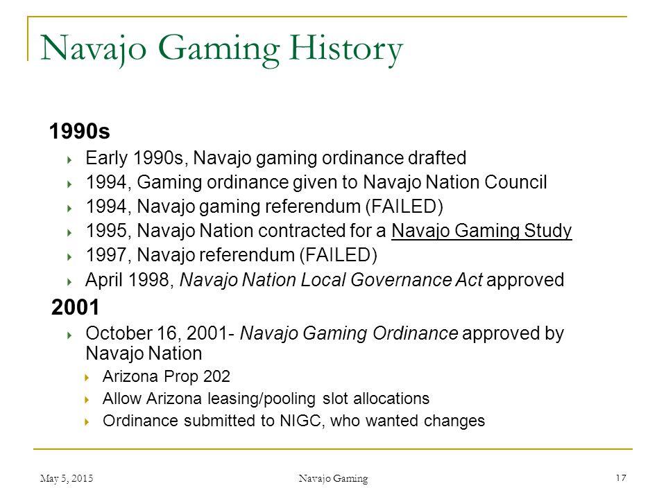Navajo Gaming History 1990s 2001