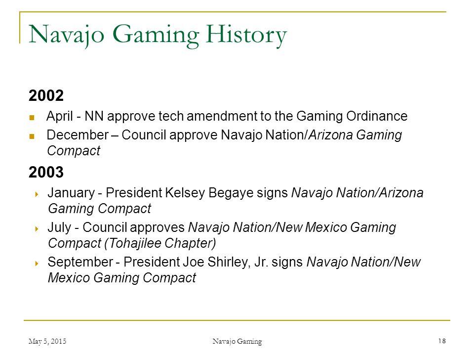 Navajo Gaming History 2002. April - NN approve tech amendment to the Gaming Ordinance.