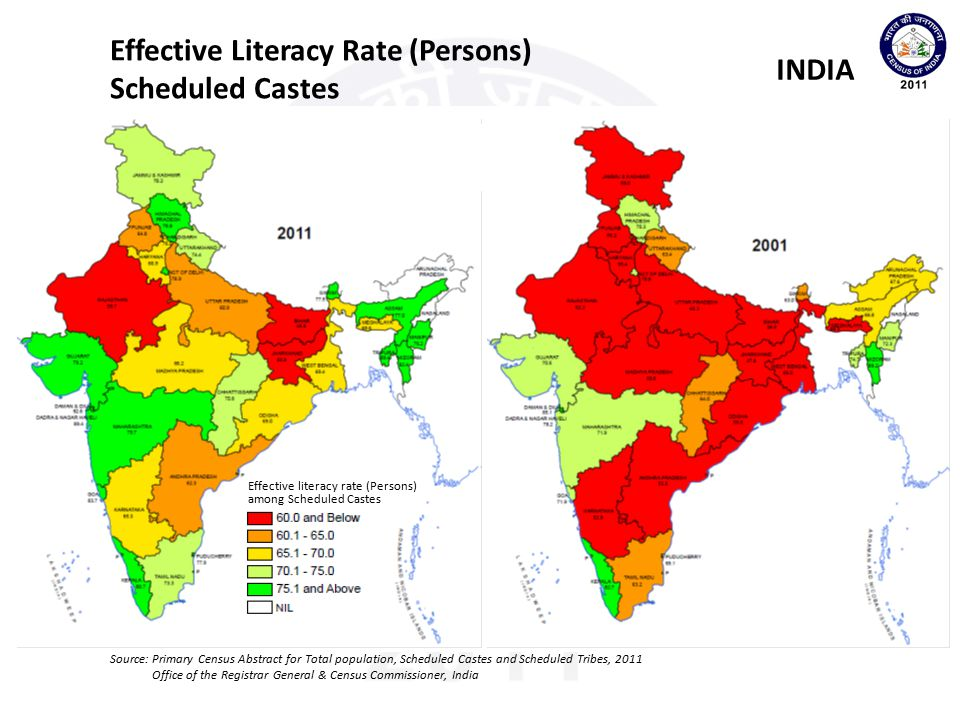 Effective Literacy Rate (Persons) Scheduled Castes INDIA
