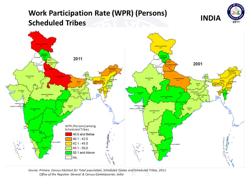 Work Participation Rate (WPR) (Persons) Scheduled Tribes INDIA