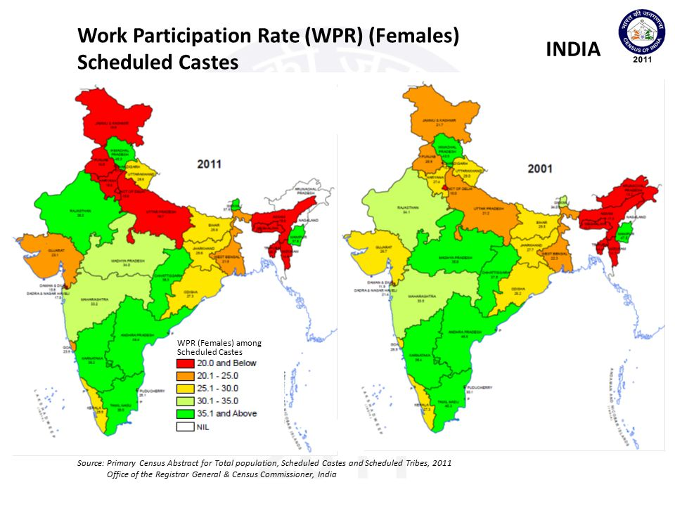 Work Participation Rate (WPR) (Females) Scheduled Castes INDIA