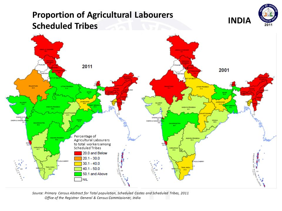 Proportion of Agricultural Labourers Scheduled Tribes INDIA