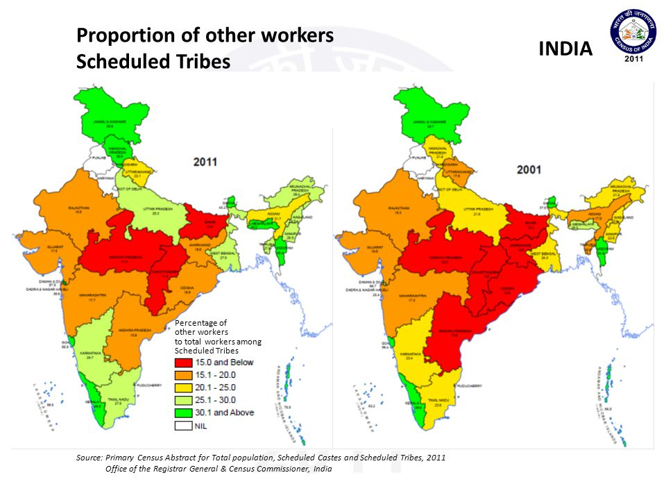 Proportion of other workers Scheduled Tribes INDIA