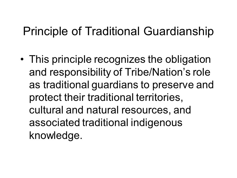 Principle of Traditional Guardianship