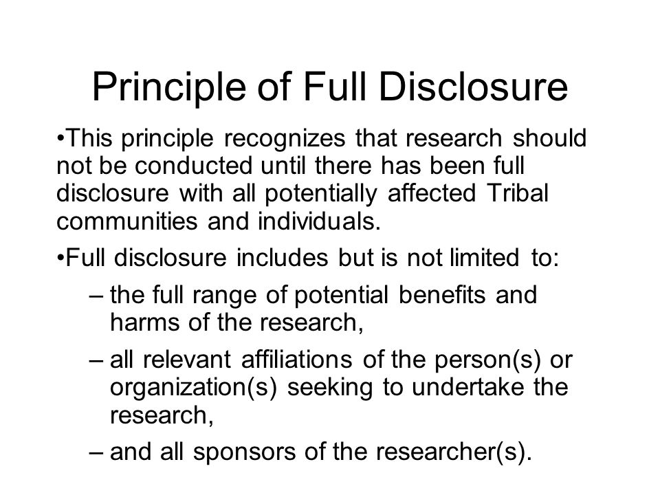 Principle of Full Disclosure