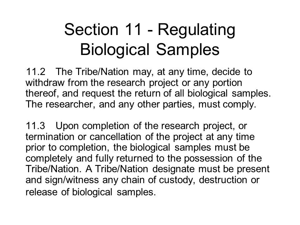 Section 11 - Regulating Biological Samples