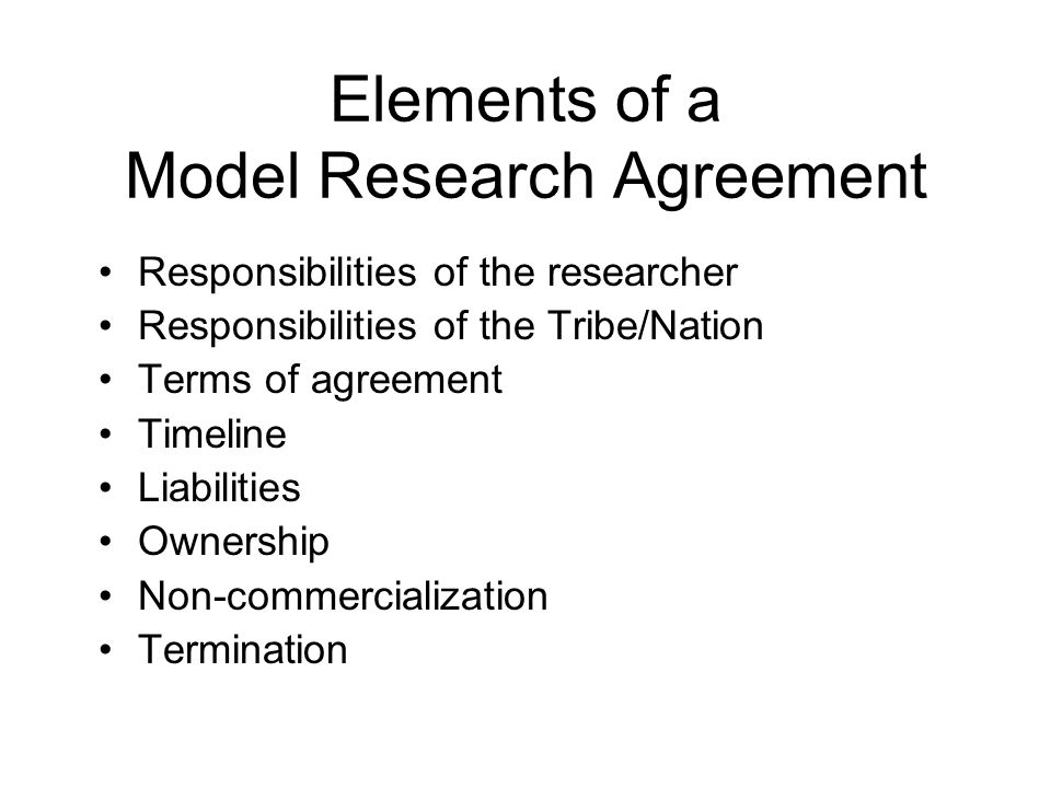 Elements of a Model Research Agreement