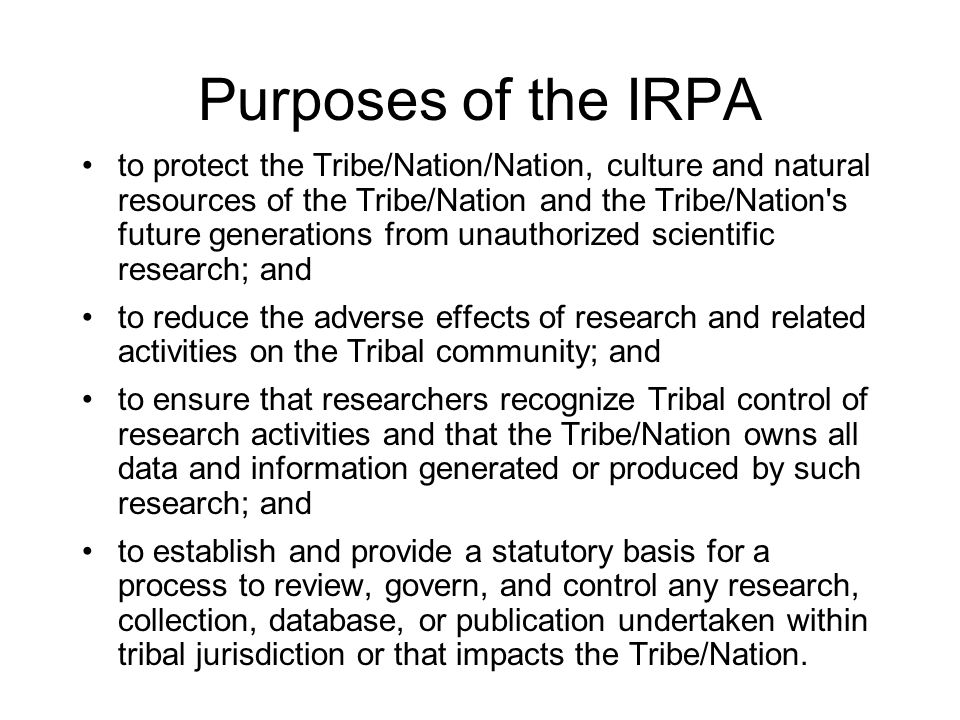 Purposes of the IRPA