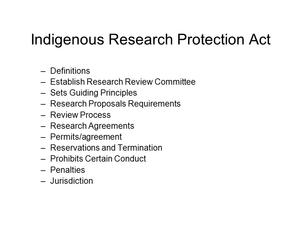 Indigenous Research Protection Act