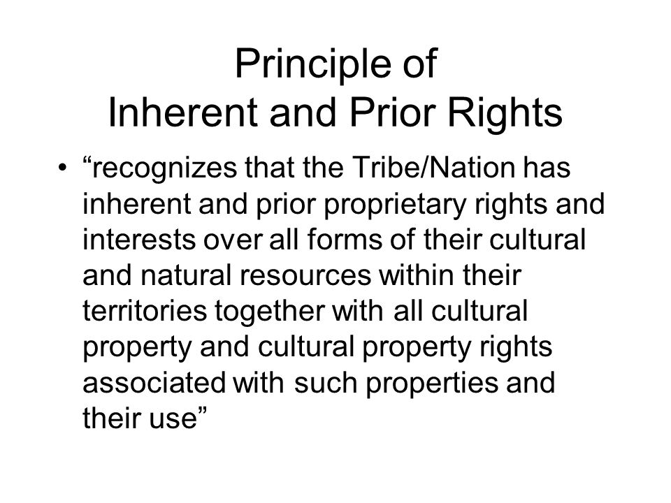 Principle of Inherent and Prior Rights