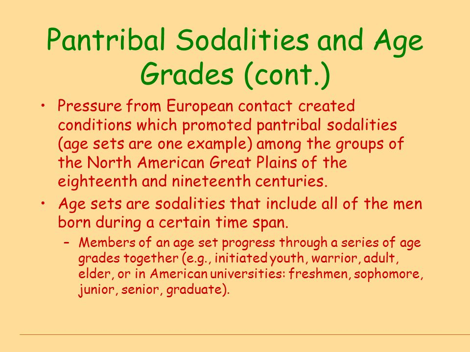 Pantribal Sodalities and Age Grades (cont.)