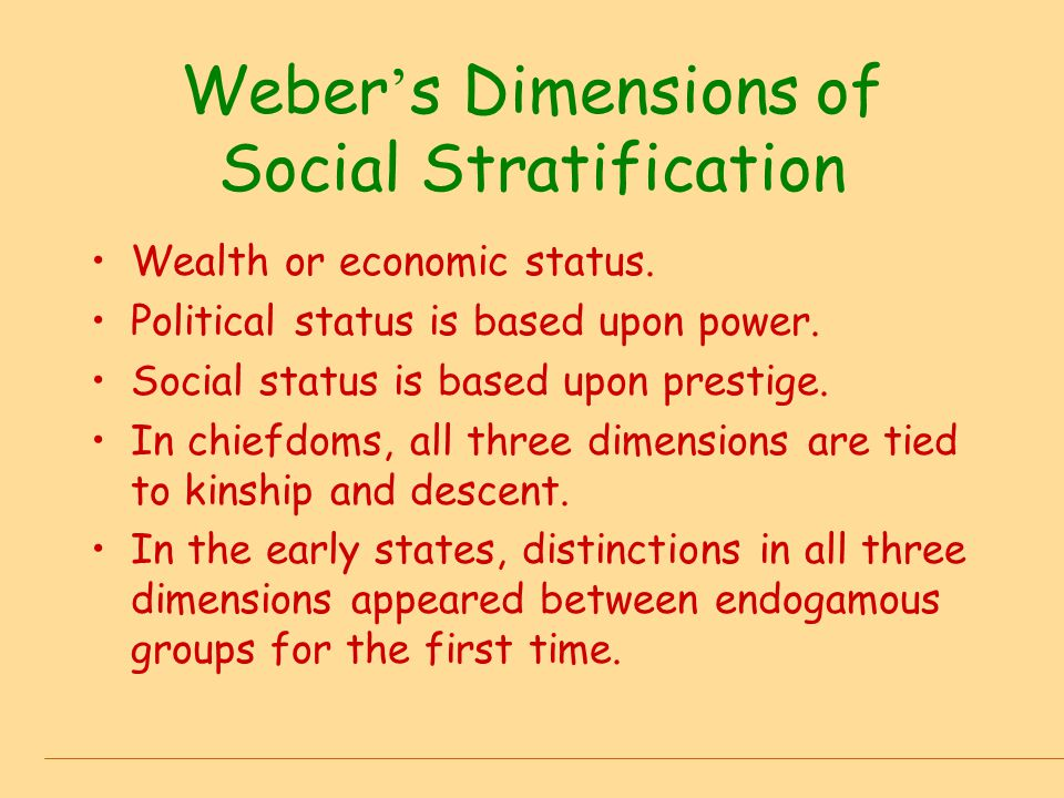 Weber's Dimensions of Social Stratification
