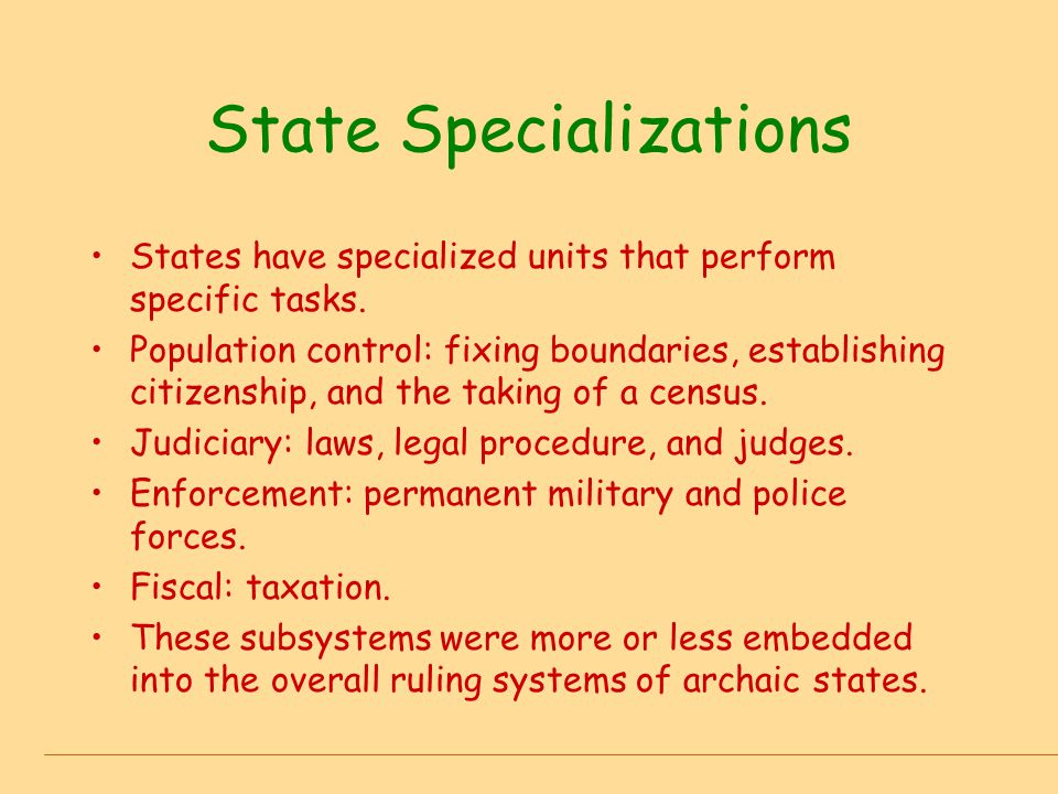 State Specializations