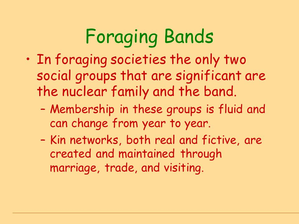 Foraging Bands In foraging societies the only two social groups that are significant are the nuclear family and the band.