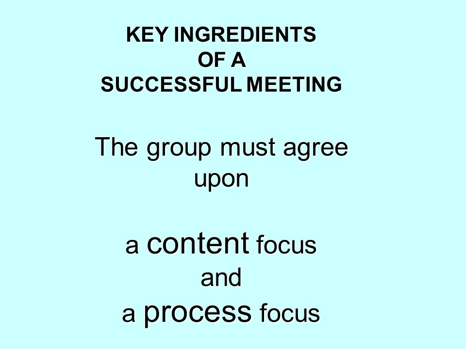KEY INGREDIENTS OF A SUCCESSFUL MEETING