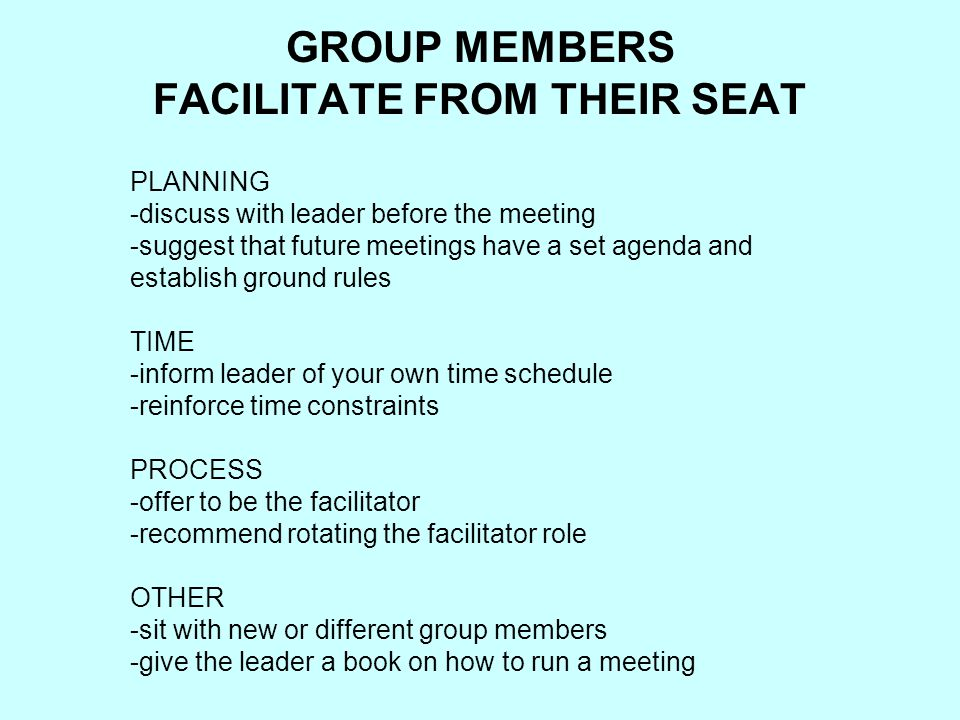 GROUP MEMBERS FACILITATE FROM THEIR SEAT