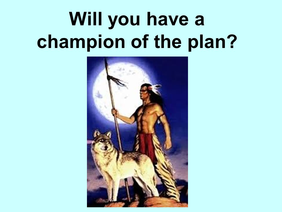 Will you have a champion of the plan