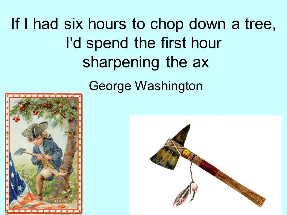If I had six hours to chop down a tree, I d spend the first hour sharpening the ax