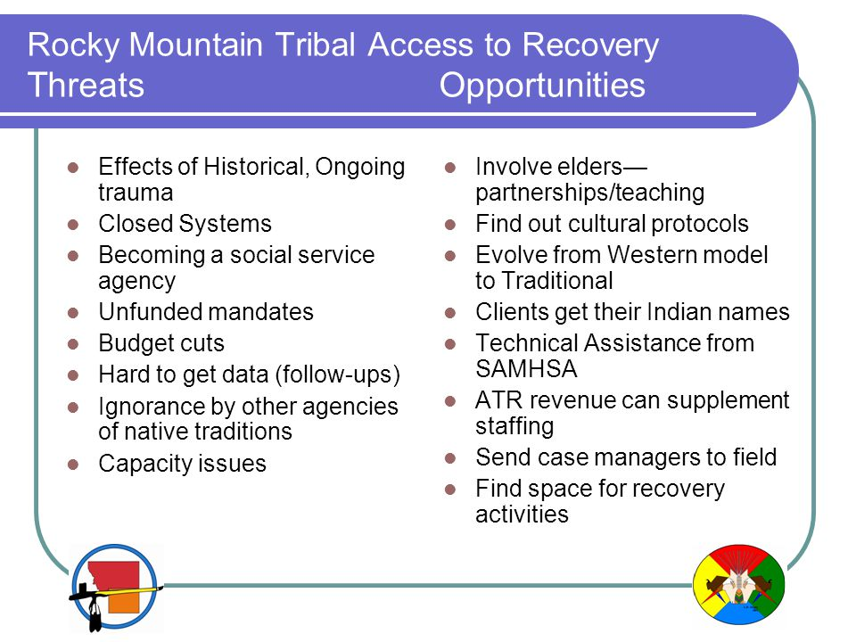 Rocky Mountain Tribal Access to Recovery Threats Opportunities