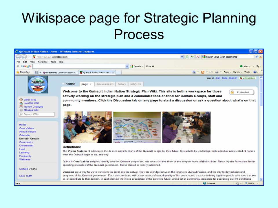 Wikispace page for Strategic Planning Process
