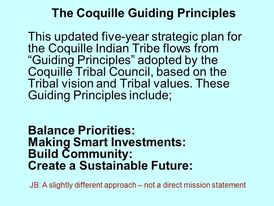 The Coquille Guiding Principles