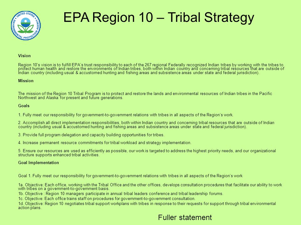 EPA Region 10 – Tribal Strategy