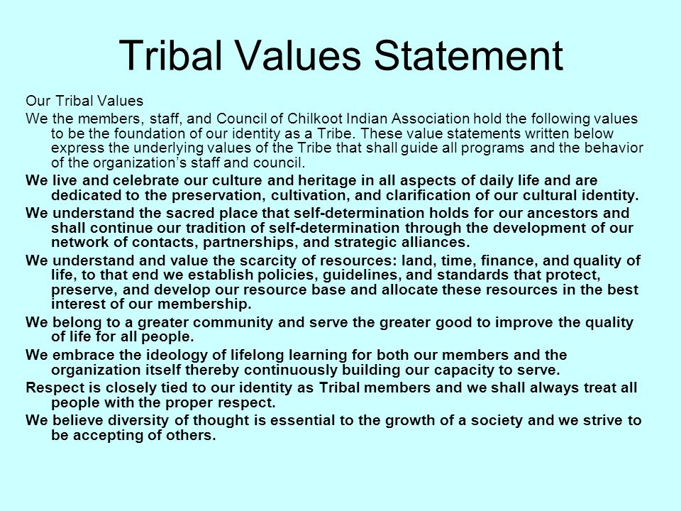Tribal Values Statement