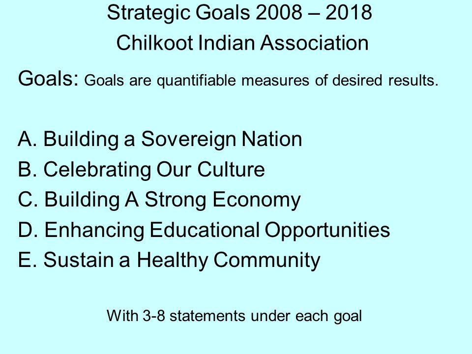 Strategic Goals 2008 – 2018 Chilkoot Indian Association