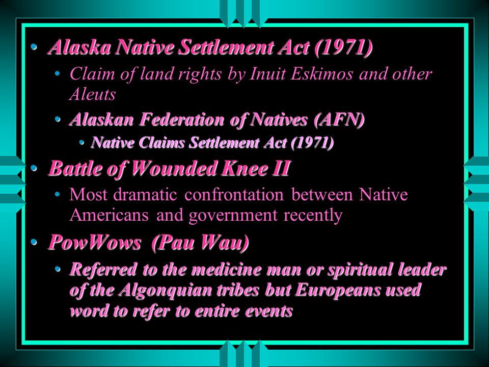 Alaska Native Settlement Act (1971)
