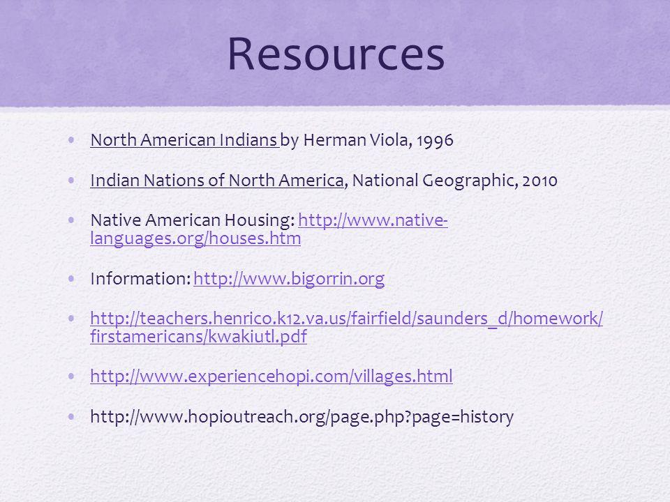 Resources North American Indians by Herman Viola, 1996