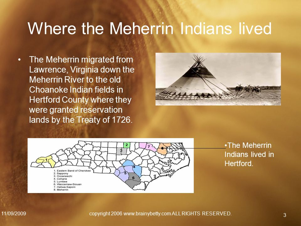 Where the Meherrin Indians lived