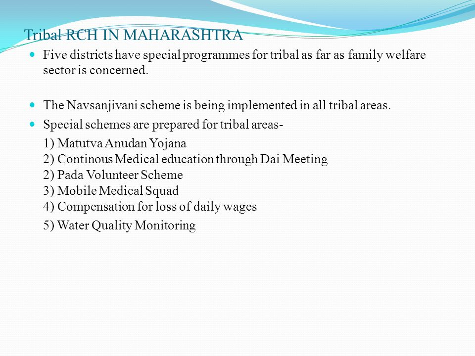 Tribal RCH IN MAHARASHTRA