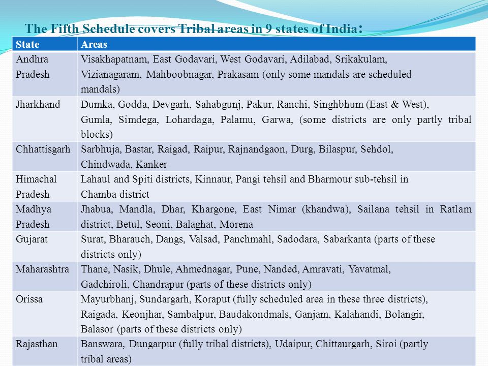 The Fifth Schedule covers Tribal areas in 9 states of India: