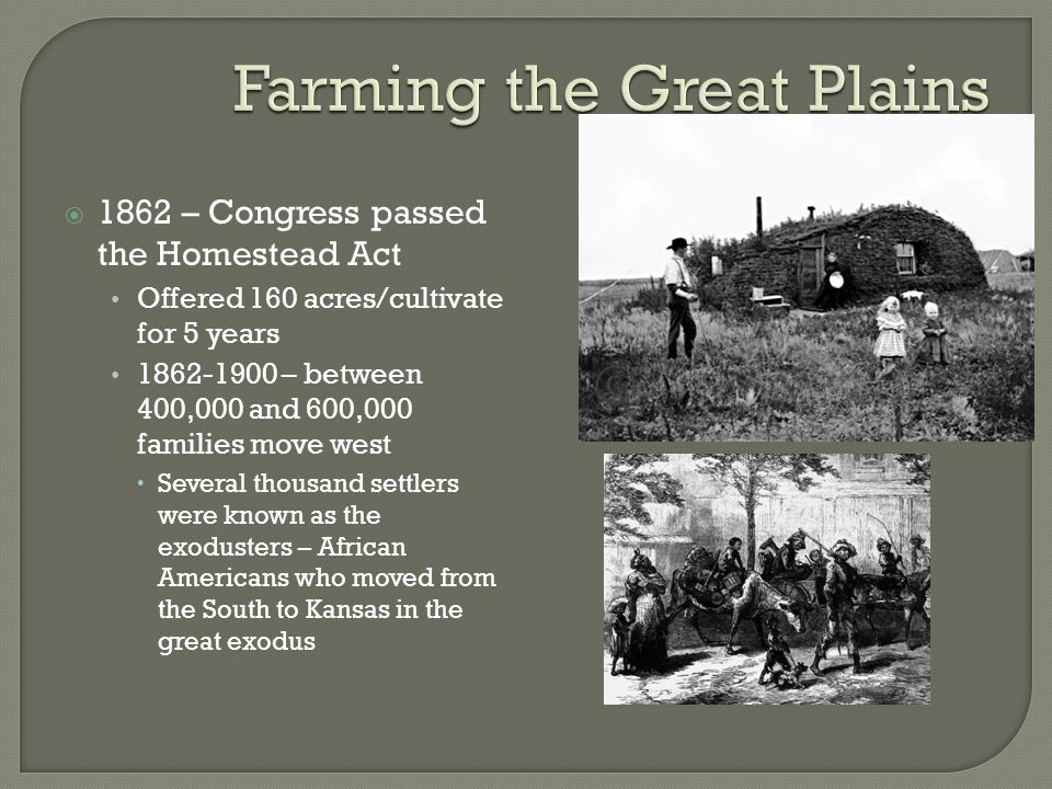 U s history unit ppt video online download for Kansas homestead act