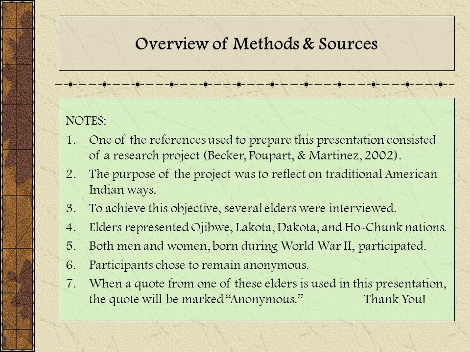 Overview of Methods & Sources