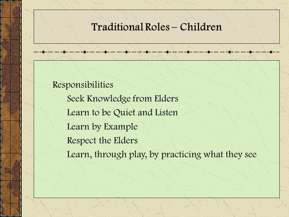 Traditional Roles – Children