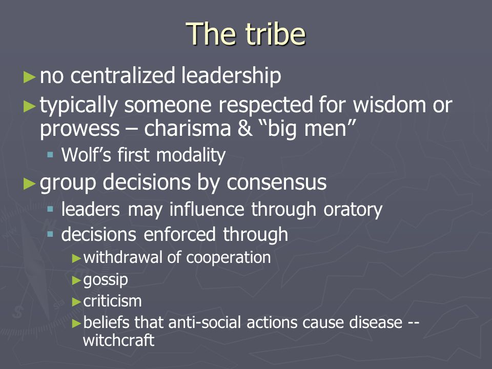 The tribe no centralized leadership