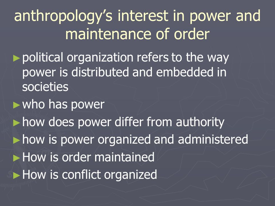 anthropology's interest in power and maintenance of order