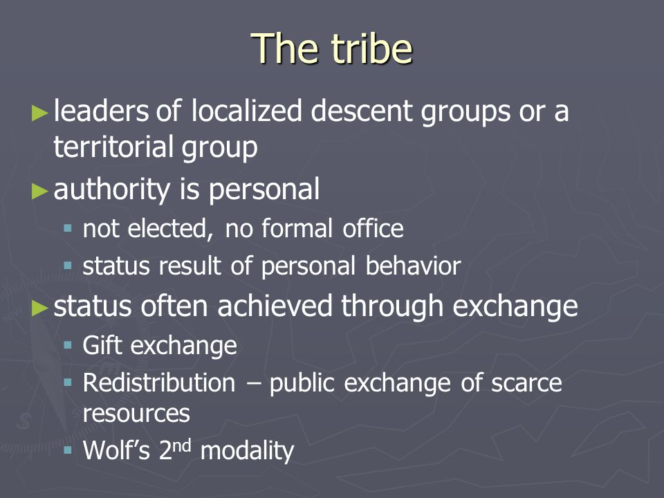 The tribe leaders of localized descent groups or a territorial group