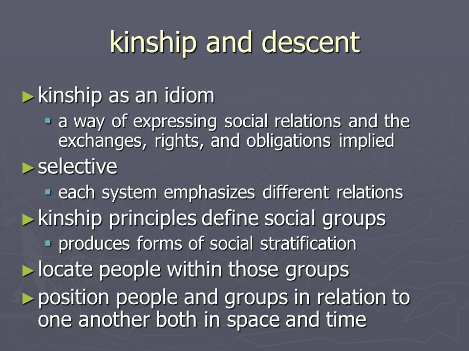 kinship and descent kinship as an idiom selective