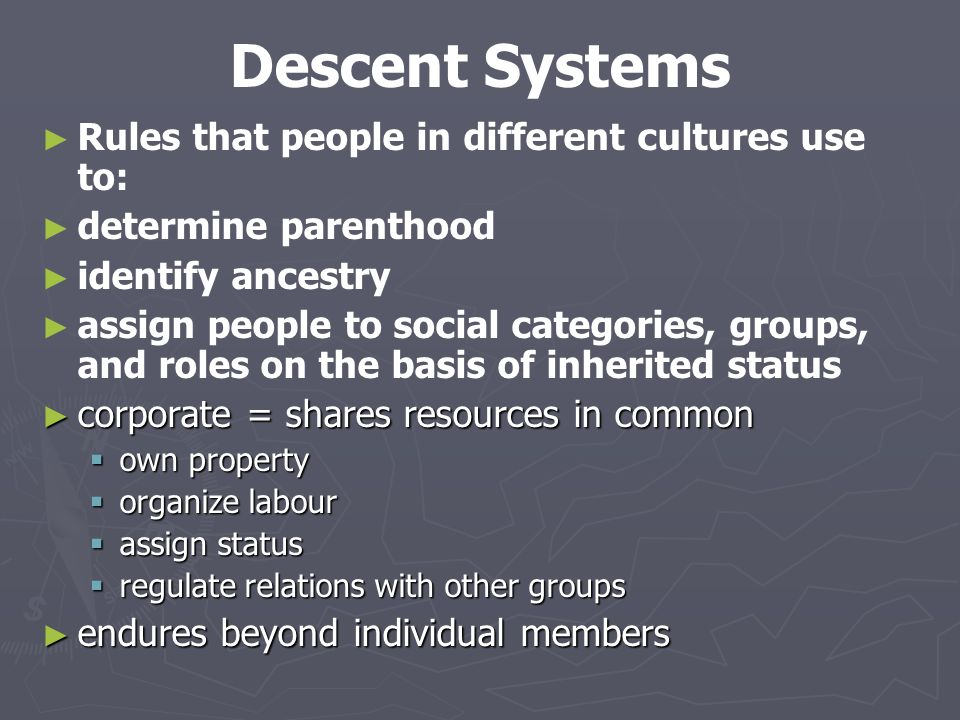 Descent Systems Rules that people in different cultures use to: