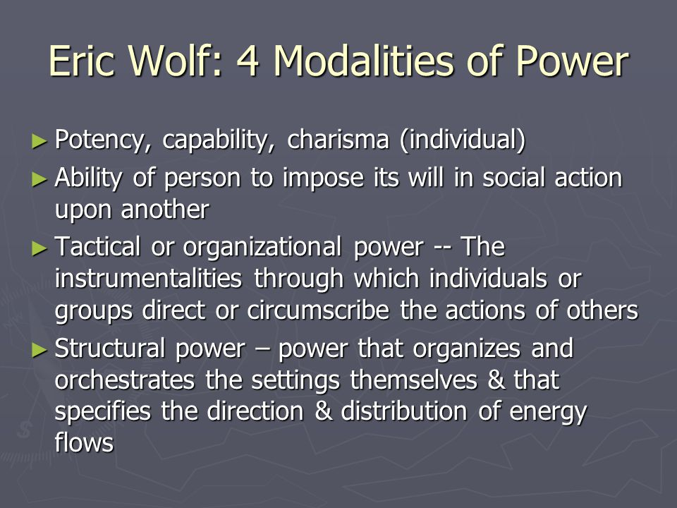 Eric Wolf: 4 Modalities of Power
