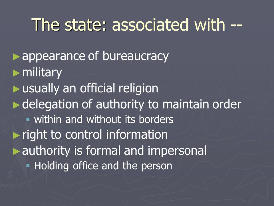 The state: associated with --