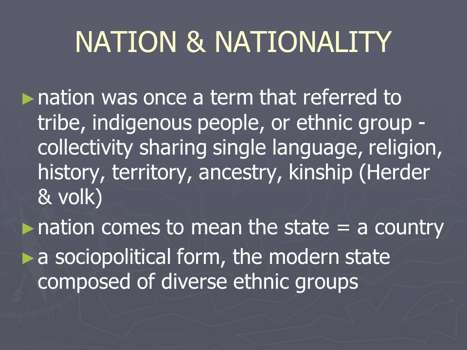 NATION & NATIONALITY
