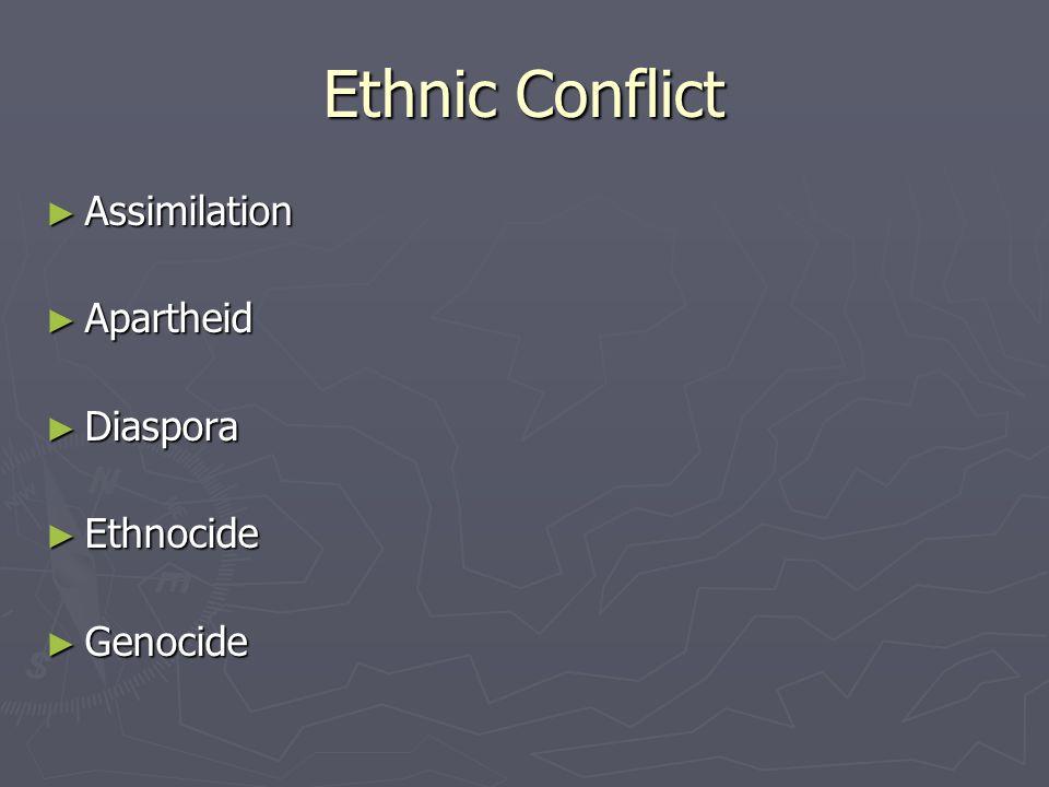 Ethnic Conflict Assimilation Apartheid Diaspora Ethnocide Genocide