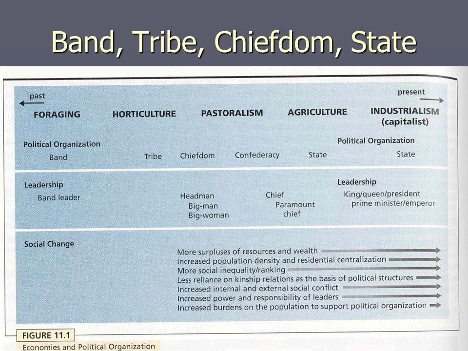 Band, Tribe, Chiefdom, State