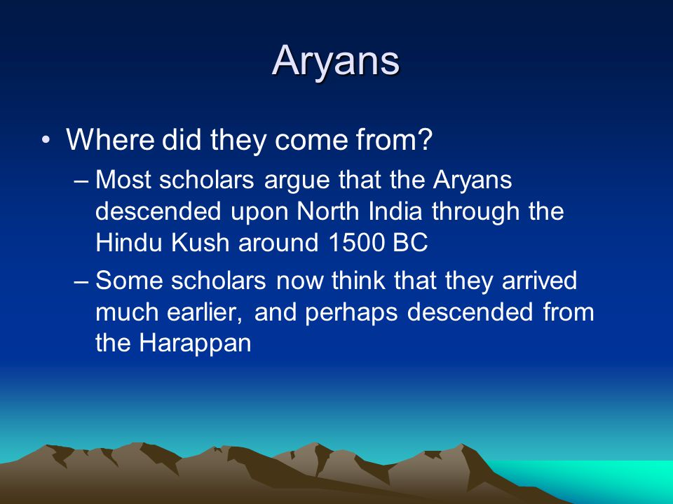 Aryans Where did they come from