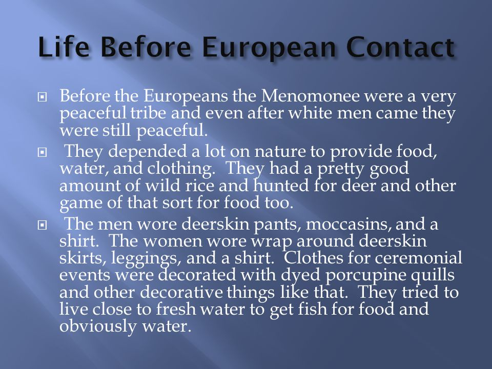 Life Before European Contact
